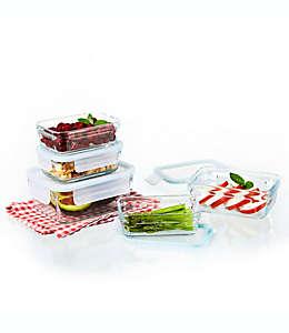 Set de contenedores para alimentos Glasslock en aqua, 10 pzas.