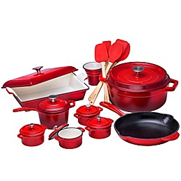 Bruntmor™ Nonstick Enameled Cast Iron 21-Piece Cookware Set in Red