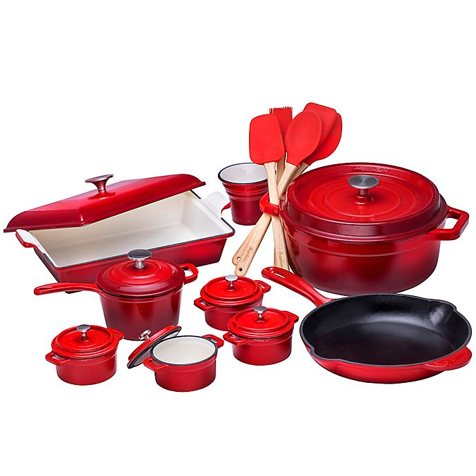 Alternate image 1 for Bruntmor™ Nonstick Enameled Cast Iron 21-Piece Cookware Set in Red