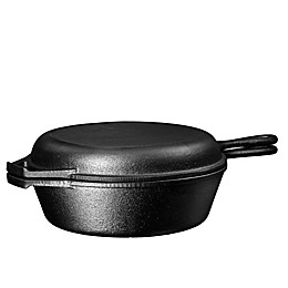 Bruntmor™ Nonstick 3 qt. Cast Iron 2-in-1 Multi-Cooker Skillet and Lid Set in Black