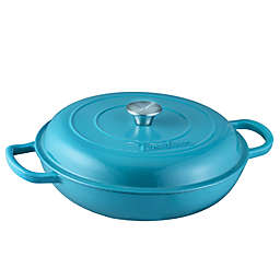 Bruntmor™ Nonstick 3.8 qt. Enameled Cast Iron Braiser in Marine Blue
