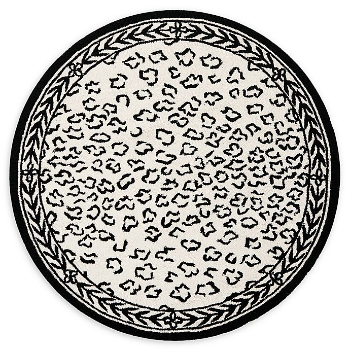 Alternate image 1 for Safavieh Chelsea Wool 3-Foot Round Rug in White and Black