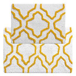 2-Tone Quatrefoil Bath Mat Set in Yellow/White (Set of 2)