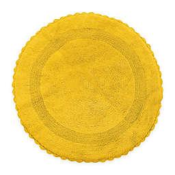 "Crochet Lace Border 36"" Round Reversible Bath Mat in Yellow"