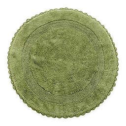 "Crochet Lace Border 36"" Round Reversible Bath Mat in Sage"