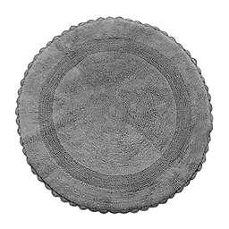 "Crochet Lace Border 36"" Round Reversible Bath Mat in Grey"