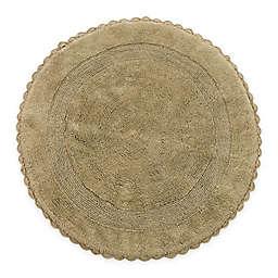 "Crochet Lace Border 36"" Round Reversible Bath Mat in Beige"