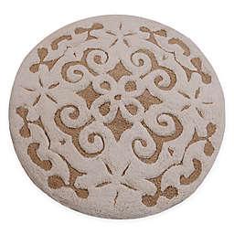 "Damask 36"" Round Bath Mat"
