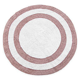 "Concentric Rings 36"" Round Reversible Bath Mat in Coral/White"