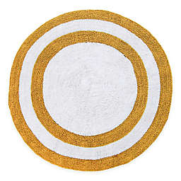 """Concentric Rings 36"""" Round Reversible Bath Mat in Yellow/White"""