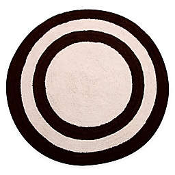 "Concentric Rings 36"" Round Reversible Bath Mat in Chocolate/Ivory"