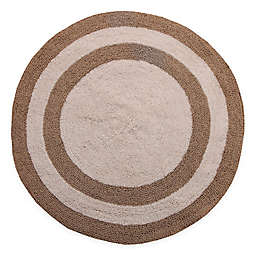 "Concentric Rings 36"" Round Reversible Bath Mat in Beige/Ivory"