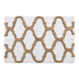 2-Tone Geometric 2-Piece Bath Mat Set in White/Beige