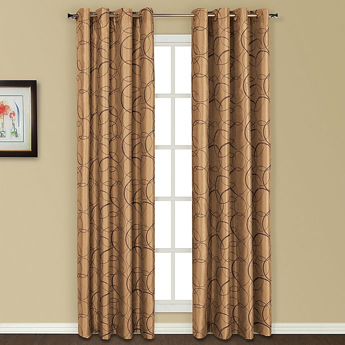 Alternate image 1 for United Curtain Co. Sinclair Embroidered 84-Inch Grommet Top Window Curtain Panel in Taupe