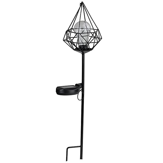 Alternate image 1 for Northlight Geometric Diamond Solar LED Lantern with Stake in Black