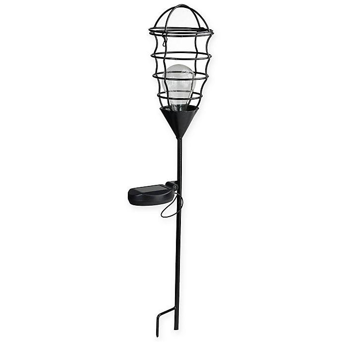 Alternate image 1 for Northlight 23.5-Inch Geometric Solar Powered LED Lantern Light in Black