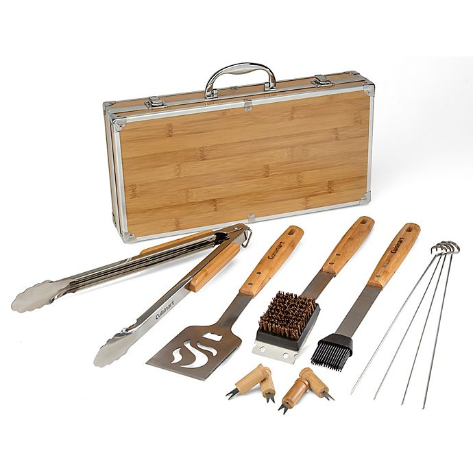 Alternate image 1 for Cuisinart® 13-Piece Bamboo Grill Tool Set in Silver/Tan