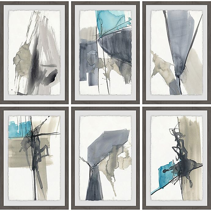 Alternate image 1 for Marmont Hill Black Strokes 36-Inch Square Framed Hexaptych Wall Art