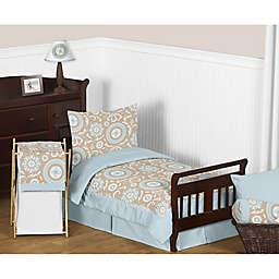 Sweet Jojo Designs Blue and Taupe Hayden 5-Piece Toddler Bedding Set