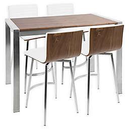 LumiSource® Mason 5-Piece Counter Dining Set in Walnut/Silver/Grey