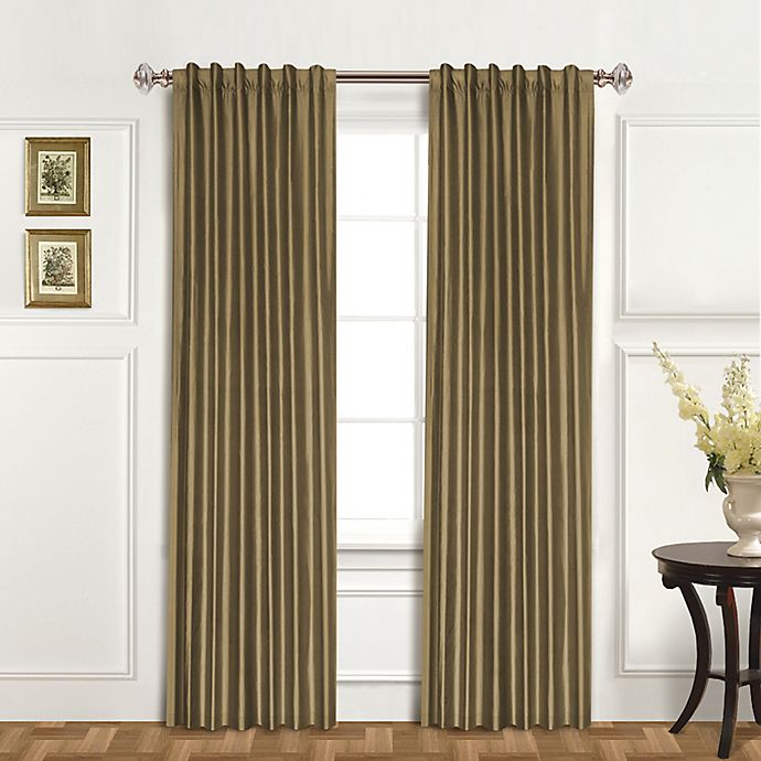 Alternate image 1 for United Curtain Co. Dupioni Silk 84-Inch Rod Pocket Blackout Window Curtain Panel in Taupe