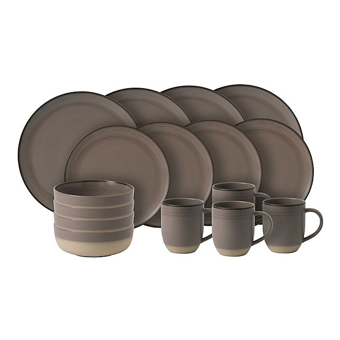 Alternate image 1 for ED Ellen Degeneres Crafted By Royal Doulton® Brushed Glaze 16-Piece Dinnerware Set in Taupe