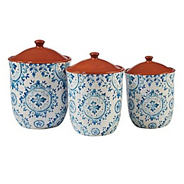 Certified International Porto 3-Piece Canister Set in Blue