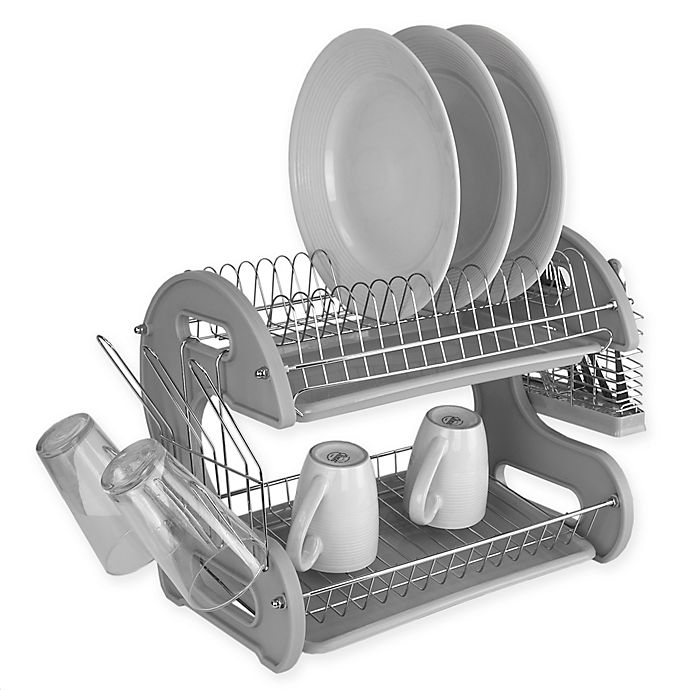 Alternate image 1 for Home Basics® 2-Tier Dish Drainer in Grey