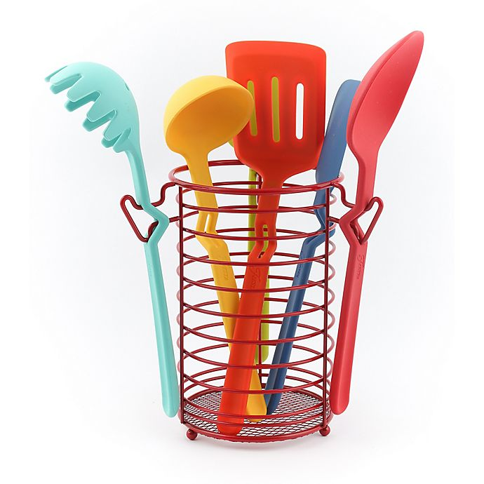 Fiesta 7 Piece Multicolor Silicone Kitchen Utensil Set With Caddy Bed Bath Beyond