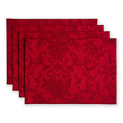 Holiday Cheer Damask Placemats in Ruby (Set of 4)