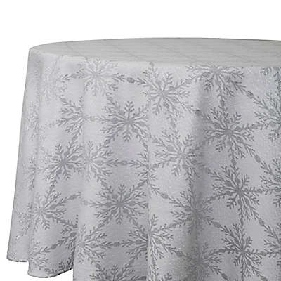 Winter Woven 70-Inch Round Tablecloth in Grey