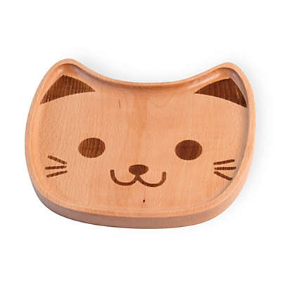 Boston International Cat Face Wood Dinner Plate