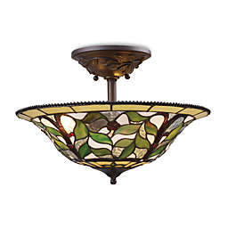 Elk Lighting Latham 3-Light Art Glass Semi-Flush Finished in Tiffany Bronze