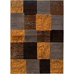 Home Dynamix Tribeca Tiles 3'3 x 4'7 Accent Rug in Brown/Grey