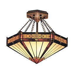 ELK Lighting Filigree 3-Light Semi-Flush Fixture in Aged Bronze