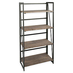 LumiSource® Dakota Bookcase in Black Metal/Brown Wood