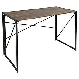 LumiSource Dakota Desk in Black Metal/Brown Wood