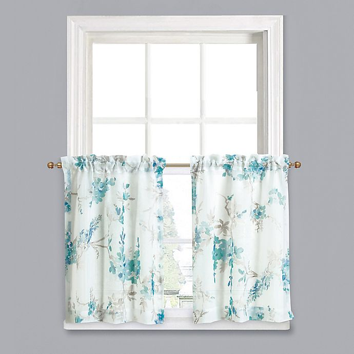 Alternate image 1 for Crushed Voile 45-Inch Rod Pocket Kitchen Curtain Tier Pair in Jade