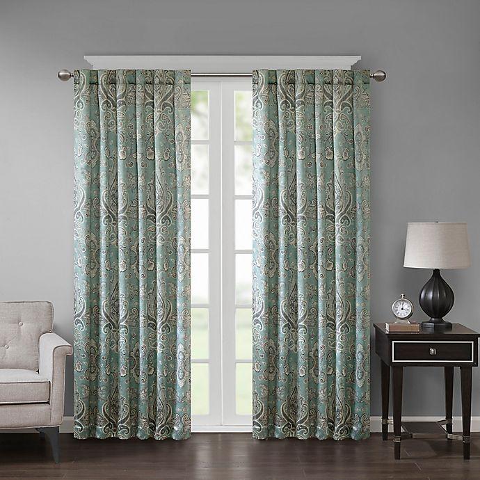 Alternate image 1 for Georgia Print 84-Inch Room Darkening Grommet Window Curtain Panel in Aqua
