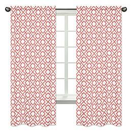 Sweet Jojo Designs Mod Diamond Window Curtain Panels in White/Coral (Set of 2)