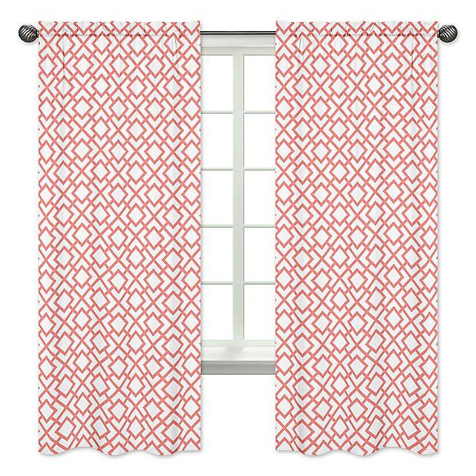 Alternate image 1 for Sweet Jojo Designs Mod Diamond Window Curtain Panels in White/Coral (Set of 2)
