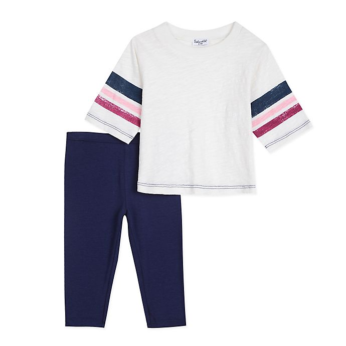 Alternate image 1 for Splendid Kids 2-Piece Roller Stripe T-Shirt and Legging Set