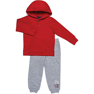 Tommy Hilfiger® 2-Piece Thermal Henley Shirt and Pant Set in Red/Grey