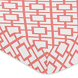 Sweet Jojo Designs Mod Diamond Fitted Crib Sheet in White/Coral