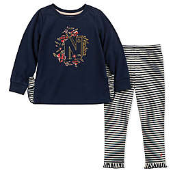 Nautica 2-Piece Floral Top and Striped Pant Set in Navy