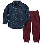 Nautica® Size 12M 2-Piece Anchor Print Shirt and Pant Set in Navy/Burgundy