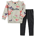 Nautica® Size 6-9M 2-Piece Long Sleeve Floral Top and Legging Set in Grey