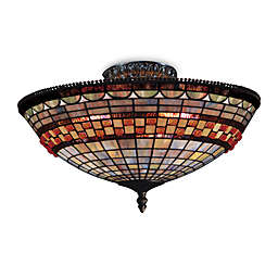 ELK Lighting Jewelstone 8-Inch Semi-Flush Fixture with 3-Lights