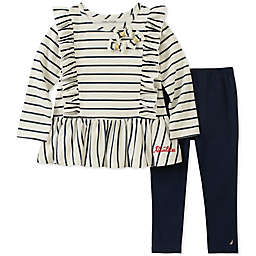 Nautica® 2-Piece Long Sleeve Ruffle Stripe Top and Pant Set in Cream