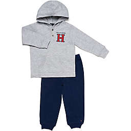 Tommy Hilfiger® 2-Piece Thermal Henley Shirt and Pant Set in Grey/Navy